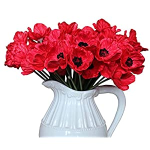 En Ge 10 Stems Mini Artificial Poppies Real Touch Fake Latex Flowers for Bridal Wedding Bouquet Home Kitchen Desktop Party Decor (red) 82