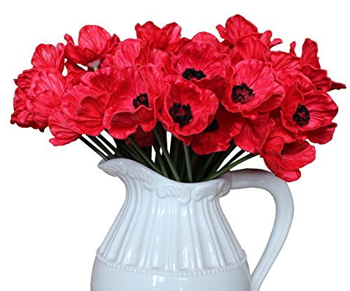 En Ge 10 Stems Mini Artificial Poppies Real Touch Fake Latex Flowers for Bridal Wedding Bouquet Home Kitchen Desktop Party Decor (red)