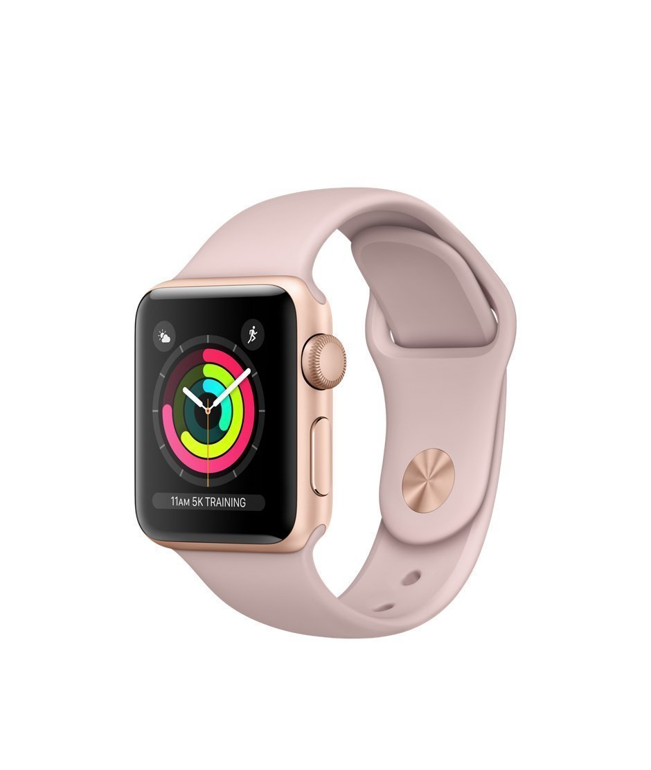 Apple Watch Series 3 38mm Smartwatch (GPS Only, Gold Aluminum Case, Pink Sand Sport Band) (Refurbished)