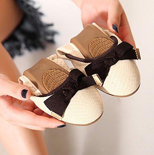 Baymate Bailarinas Mujer Puntera Redonda Comodidad Plegable Zapatos Piso Bowknot Decoración Albaricoque