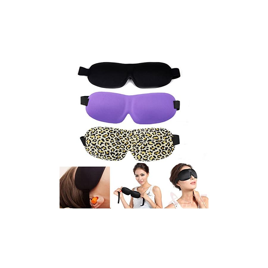 Set of 3 ANFIMU Sleep Eye Mask Contoured 3d Velcro Adjustable Elastic Strap 9*24cm Breathable For Men and Women Blocks the Light Completely Best for Travel, Insomnia or Quiet Night Sleep Very Soft & Lightweight
