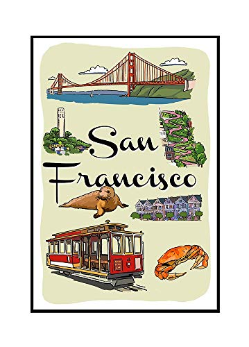 San Francisco, California - Landmarks and Icons (24x36 Framed Gallery Wrapped Stretched Canvas)