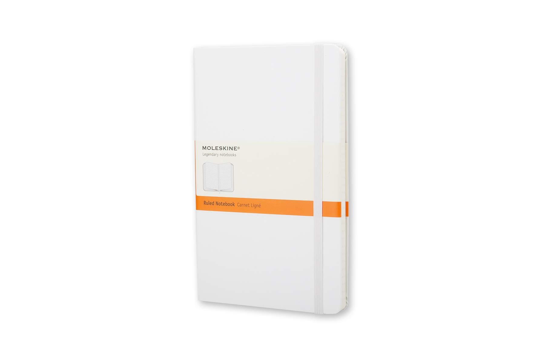Moleskine Classic Notebook, Hard Cover, Large (5'' x 8.25'') Ruled/Lined, White by Moleskine (Image #1)
