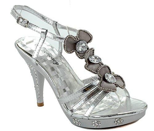 76 Delicacy shoe party M Teresa US D Black Silver Womens FqXxXZE