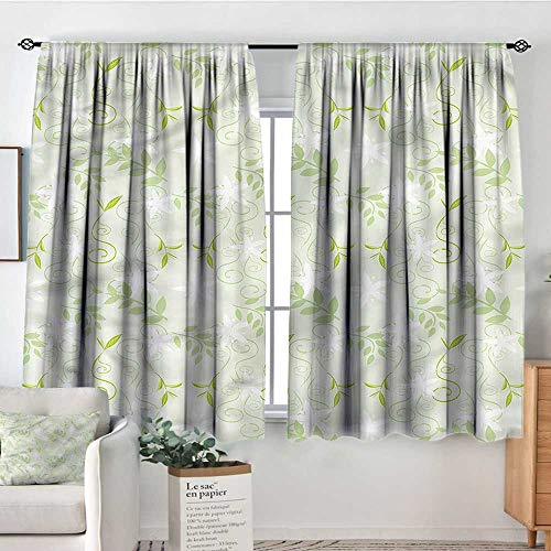 Anzhutwelve Mint,Bedroom Drapes Swirls Floral Branches 52
