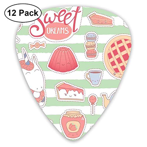 (Guitar Picks 12-Pack,Various Desserts In Cartoon Style Funny On Green Stripes Unicorn Eating Donut)