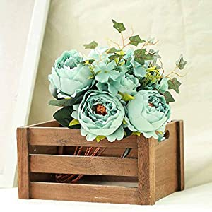 Tableclothsfactory 2 Bushes Turquoise Peony, Rose Bud and Hydrangea Artificial Silk Flower Bouquets for Wedding Home Floral Arrangement 91