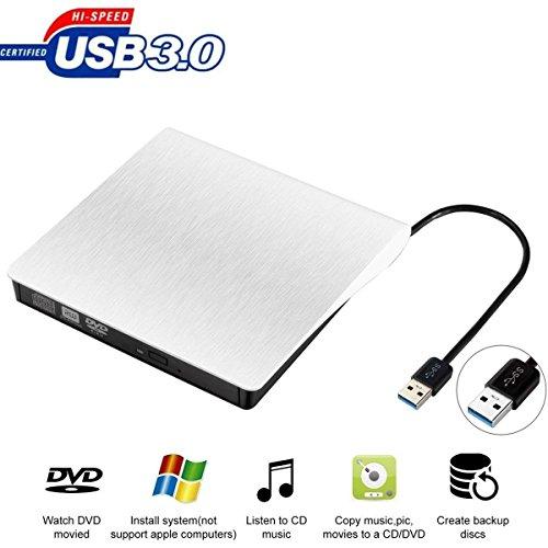 External CD DVD Drive, USB 3.0 Ultra Portable CD DVD +/-RW Drive Slim DVD/CD Rom Rewriter Burner Writer, High Speed Data Transfer for Laptop Support Desktop Macbook Air Pro/Air/iMac/Mac OS/Windows by OUDEKAY