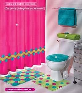 mesmerizing pink bathroom accessories sets | Amazon.com: Pink Green Aqua Blue Circles Bath Set 5 Pcs ...