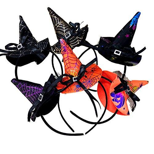 6 Pcs Halloween Witch Hat Headband Halloween Fancy Dress Accessory Pretend Play Dress up