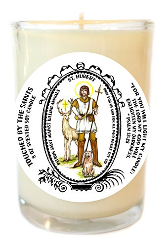 Saint Hubert Against Killing Animals 8 Oz Scented Soy Glass Prayer Candle by Touched By The Saints