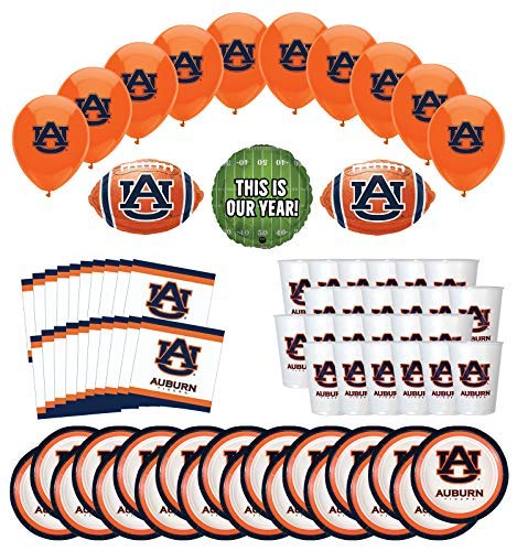 Mayflower Products Auburn Tigers Football Tailgating Party Supplies for 20 Guest and Balloon Bouquet Decorations]()