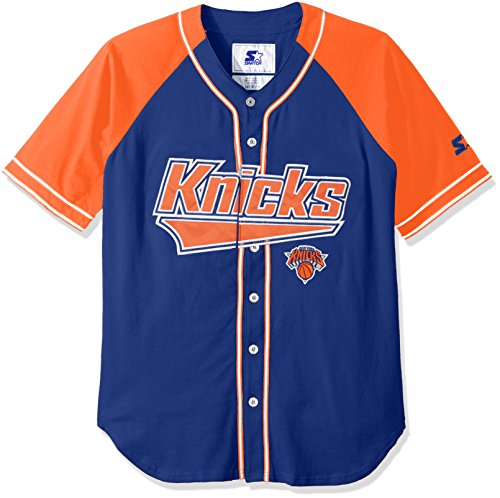STARTER NBA New York Knicks Men's The Player Baseball Jersey, X-Large, Royal