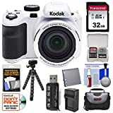 KODAK PIXPRO AZ421 Astro Zoom Digital Camera (White) with 32GB Card + Case + Battery/Charger + Flex Tripod + Kit For Sale