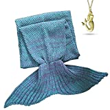 AOOK HOMEMADE Mermaid Tail Blanket Crochet, Warm Sofa Quilt Super Soft All Seasons Sleeping Blankets,Handmade Mermaid Tail Blanket for Adults,77''x38'' 195cmX95cm (Lake Blue)
