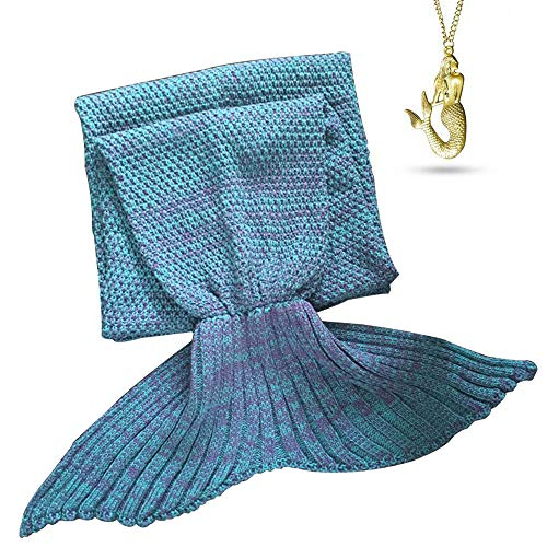 AOOK HOMEMADE X-Large Mermaid Tail Blanket Crochet, Warm Sofa Quilt Super Soft All Seasons Sleeping Blankets,Handmade Mermaid Tail Blanket for Adults,77x38 195cmX95cm (Lake Blue)