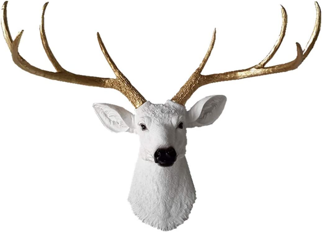 YJ Home Larger Faux Deer Head - Rustic Wall Decor Deer Antlers,Faux Taxidermy Animal Head Wall Decor - Handmade Farmhouse Decor (White haed Gold Antlers, 27.5''Wx20''H)