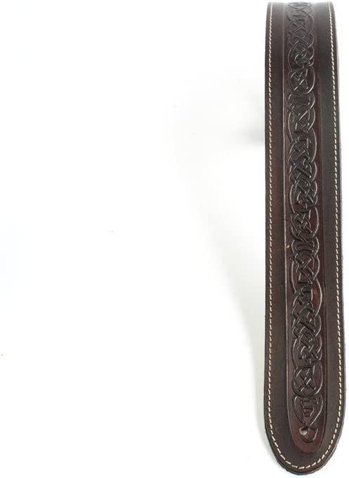 Sangle artisanale noir LeatherGraft en cuir v/éritable pour guitare avec motif de n/œuds celtiques pour guitares /électriques acoustiques et guitares basses
