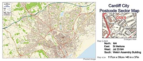 Cardiff Postcode Map Laminated City Centre Sector Wall Map 3