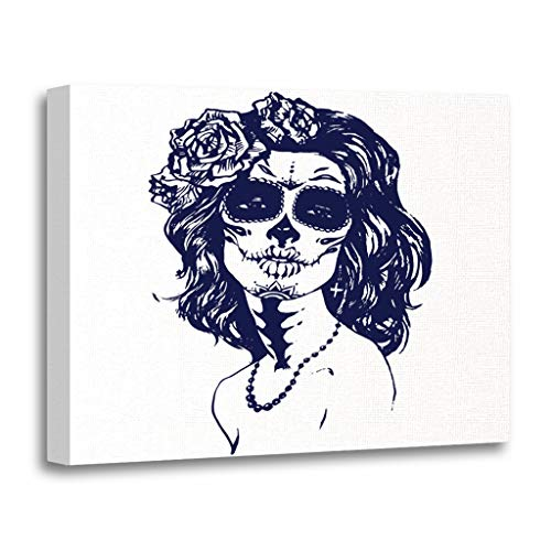 Emvency Painting Canvas Print Wooden Frame Artwork Sugar Girl Santa Muerte Woman Skull Make Up Face Tattoo Stock Decorative 20x30 Inches Wall Art for Home Decor