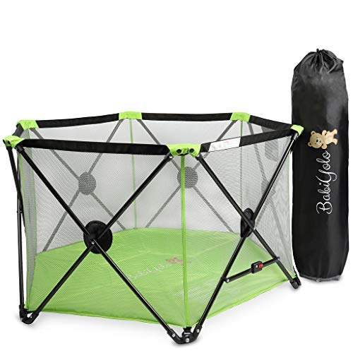 Baby Pack and Play Playpen Yard: Portable Travel Play Pen for Babies - Green