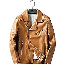 Feisen Men's Faux Leather Jacket Motorcycle Zipper Lapel Jacket