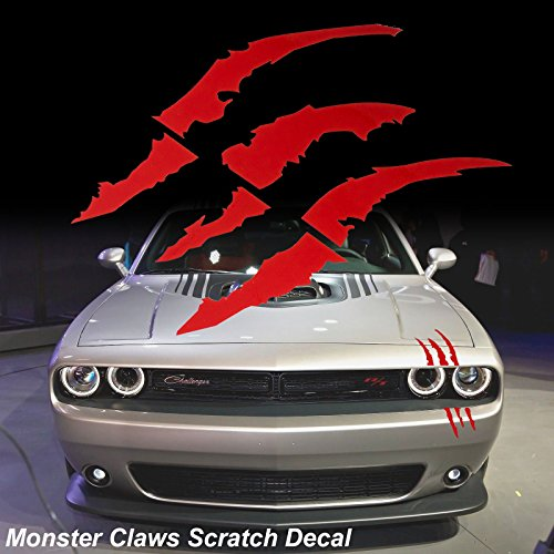 Monster Visor - Red Monster Claws Scratch Headlight Decal Die-Cut Vinyl Sticker for Halloween[Blood Red]