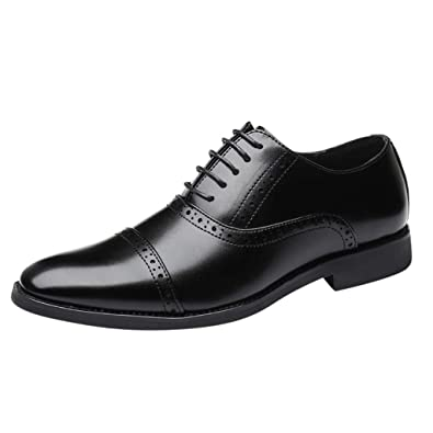 5b3d2e1a2077 Hivot Men's British Style Oxford Shoes Pointed Toe Lace Up Leather Wedding  Shoes Business Shoes Derby