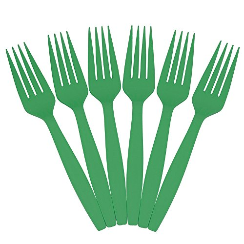 JAM PAPER Big Party Pack of Premium Plastic Forks - Green - 100 Disposable Forks/Box