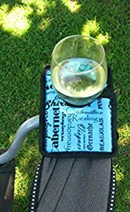 Winerest Wine Glass Holder w/ Sturdy Velcro Strap Made for Outdoor Chairs (Blue)