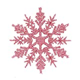 JPJ(TM) ❤️Tree Ornament ❤️6Pcs/Set Christmas Fashion Glitter Snowflake Ornaments Xmas Tree Hanging Decoration10cm (Pink)