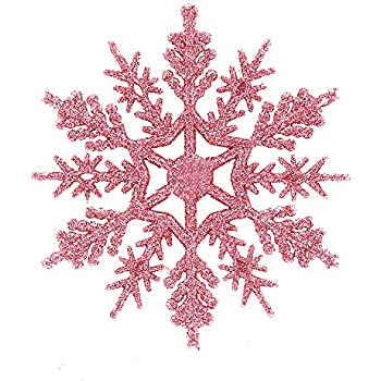 amazon com banberry designs pink and blue snowflakes set of 24