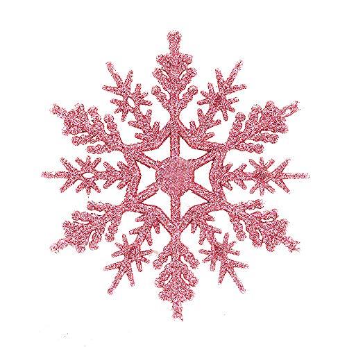 JPJ(TM) ❤️Tree Ornament ❤️6Pcs/Set Christmas Fashion Glitter Snowflake Ornaments Xmas Tree Hanging Decoration10cm (Pink) -
