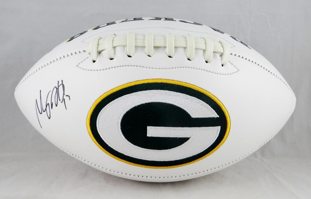 Devante Adams Autographed Green Bay Packers Logo Football JSA W Auth