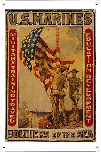 World War I One Tin Sign Metal Poster (reproduction) of U.S. Marines - Soldiers of the sea Military training, travel, education, development /