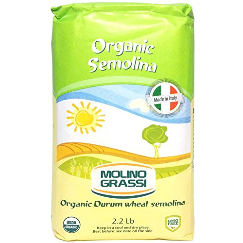 Molino Grassi USDA Organic Durum Wheat Semolina Flour, 2.2 Pound (Pack of 10)