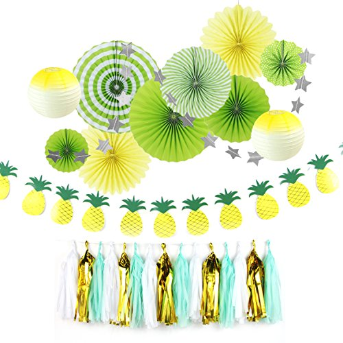 (Summer Party Birthday Wedding Decoration Kit Paper Fans Pineapple Banner Tassel Garlands for Beach Carnival Anniversary Hanging Decoration Easy Joy (Green))