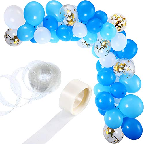 Tatuo 112 Pieces Balloon Garland Kit Balloon Arch Garland for Wedding Birthday Party Decorations (White Blue)]()