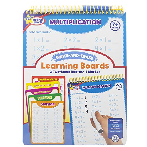 Active Minds - Write-and-Erase - Wipe Clean Learning Boards Ages 7+ - Multiplication, Division, USA States and Capitals