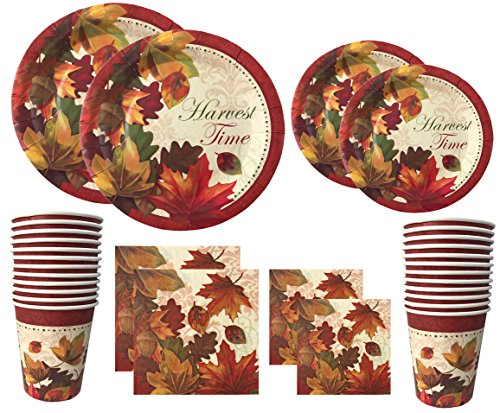 Thanksgiving Disposable Dinnerware Set For Your Holiday Party - Fall Leaves - Dinner Plates, Dessert Plates, Cups, Napkins and Pumpkin Pie Recipe (Serves - Holiday Pie Recipes