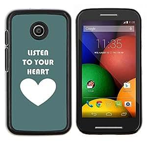 Caucho caso de Shell duro de la cubierta de accesorios de protección BY RAYDREAMMM - Motorola Moto E - Listen To Your Heart trullo blanco del amor