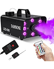 FAMNONE Fog Machine, 500W Stage Smoke Machine, Wireless Remote Control, 8pcs LED Party Lights 16 Colors Dimmable for Halloween, Wedding Stage Effects, Night Club, Bar Create Atmosphere