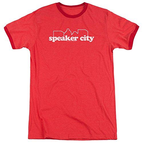 Sons of Gotham Old School - Speaker City Logo Adult Ringer T- Shirt 3XL