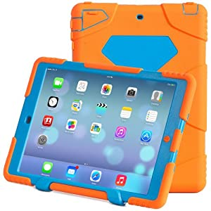 Aceguarder New Design iPad Air Waterproof Shockproof Snowproof Dirtproof Super Protection Cover Case with Stand for Kids Outdoor Sports Travel(Aceguarder Brand) (Orange-blue)
