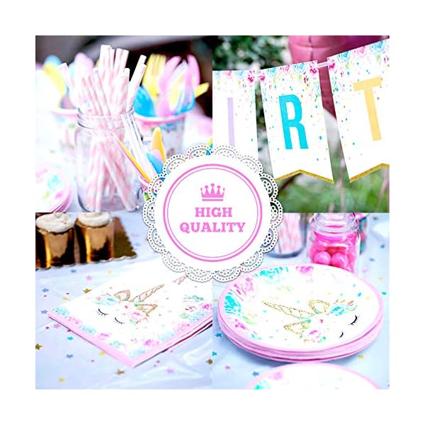 Unicorn Party Supplies set - 238 PCS - 18 Serves | Unicorn Decoration | Tableware | Favors | Balloons | Free Bonus 5