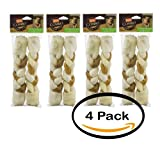 Pack of 4 - Hartz Combo Rawhide & Pig Skin Large Dogs - 2 CT