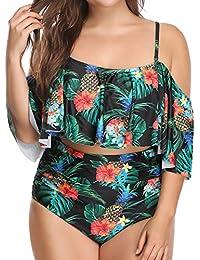 b27083e5877 Woman Plus Size Swimwear Two Piece Ruffle Off Shoulder Printed Bikini Top  with High Waisted Swimsuit