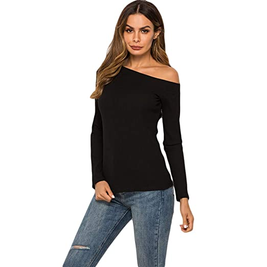 70dfd684ec3ae EH-LIFE Women Side Silt One Shoulder Off Shoulder Tops Knitted Sweater Wine  Red at Amazon Women s Clothing store