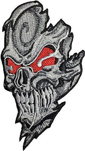 [Papapatch Brutal Red Eyes Skull Ghost Halloween Biker Rider Costume Sewing on Iron on Embroidered Applique Patch] (Halloween Little Dead Riding Hood Costume)