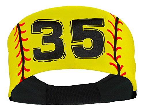 (MadSportsStuff Player ID Softball Stitch Headband (Yellow, 35))
